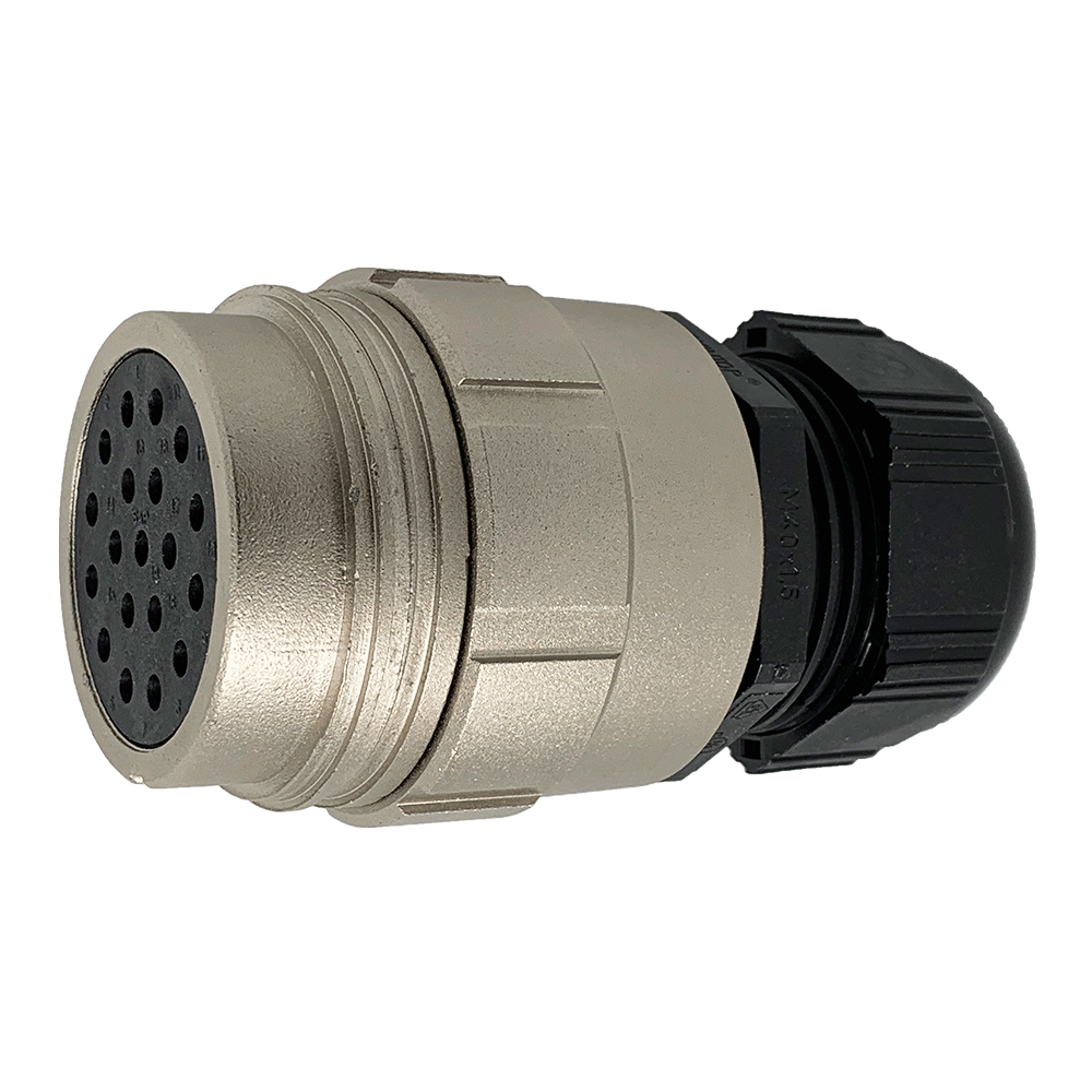 CEEP 9201419AR0SE00, 419AR, 19 pin female inline connector, without locking ring, 19 x 25A Solder Contacts, IP67, nickel conductive finish.