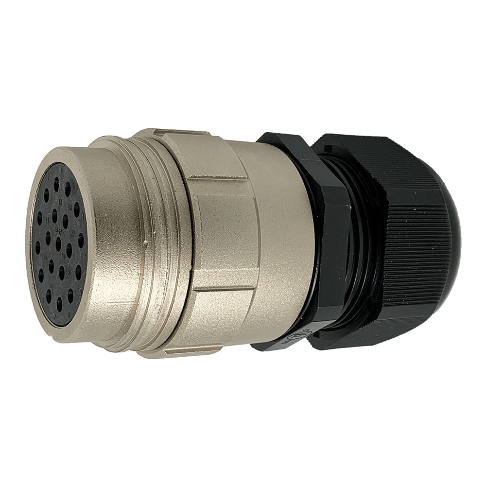 CEEP 9201419AR0SJ00, 419AR, 19 pin female inline connector, without locking ring, 19 x 25A Solder Contacts, IP67, nickel conductive finish.