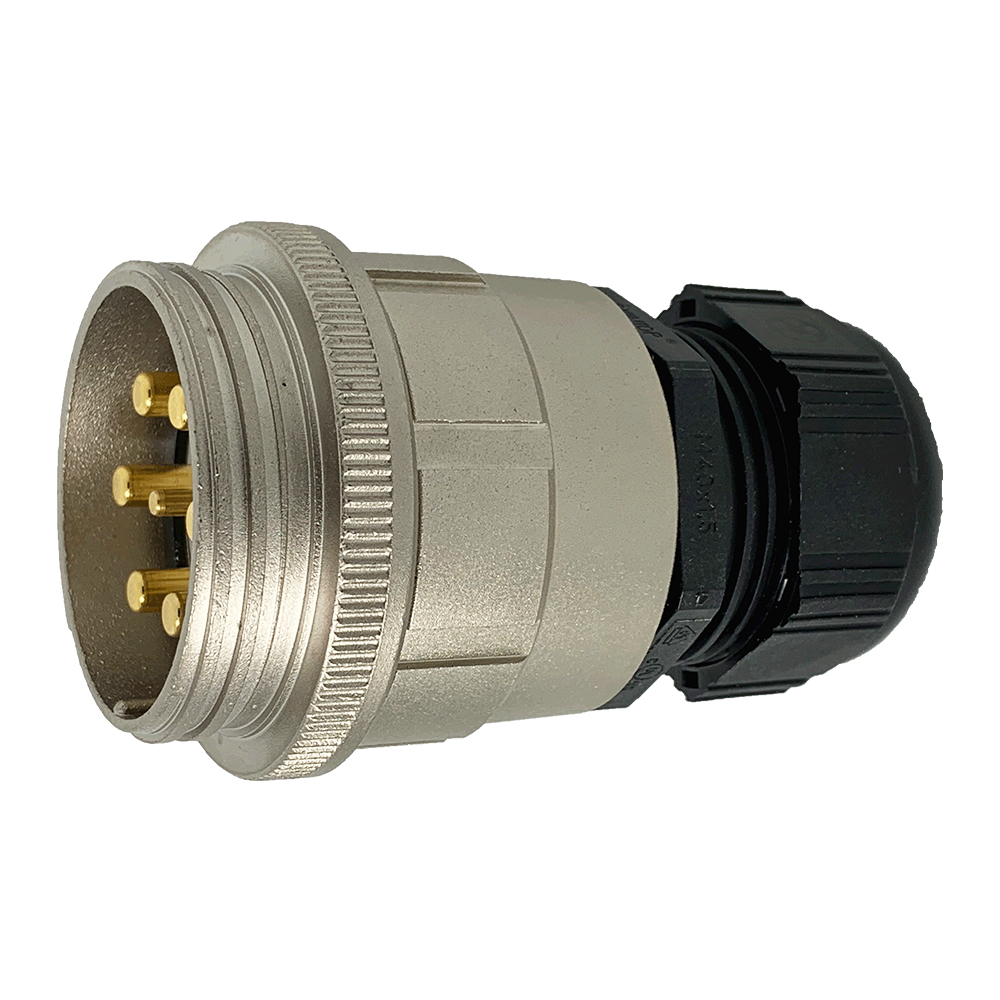 CEEP 920147M000PE00, 47M, 7 pin male inline connector, without locking ring, solder contacts 1 x 25A, 6 x 50A, IP67, nickel conductive finish.