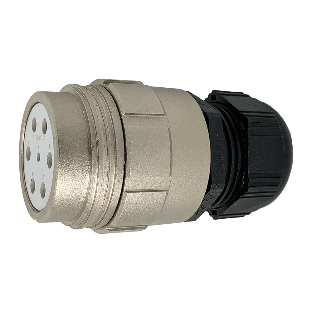 CEEP 920147M000SE00, 47M, 7 pin female inline connector, without locking ring, solder contacts 1 x 25A, 6 x 50A, IP67, nickel conductive finish.