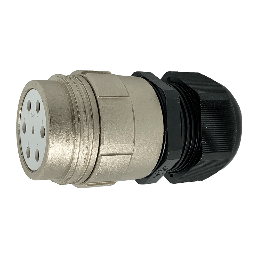 CEEP 920147M000SL00, 47M, 7 pin female inline connector, without locking ring, solder contacts 1 x 25A, 6 x 50A, IP67, nickel conductive finish.