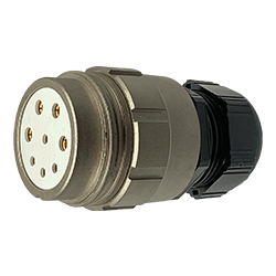 CEEP 920148M000SE00, 48M, 8 pin female inline connector, without locking ring, solder contacts 4 x 25A, 4 x 50A, IP67, nickel conductive finish.
