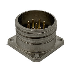 CEEP 920229AE00P000, 29AE, 9 pin male panel connector, without locking ring, solder contacts 9 x 10A, IP67, nickel conductive finish.