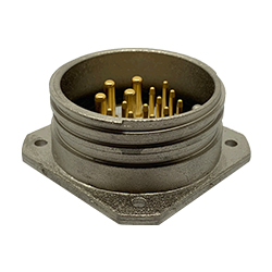 CEEP 9202315K00P000, 315K, 15 pin male panel connector, without locking ring, 4 x 25A & 11 x 10A Solder Contacts, IP67, nickel conductive finish.