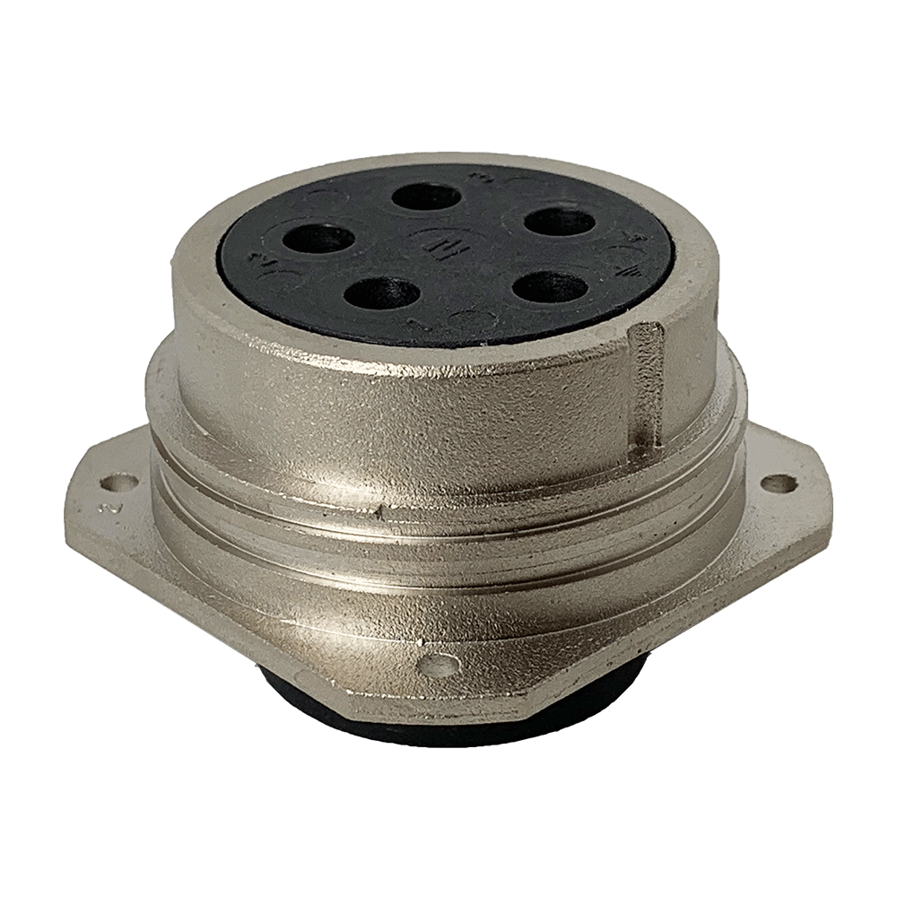 CEEP 920245CX00S00, 45CX, 5 pin female panel connector, without locking ring, crimp contacts 5 x 80A, IP67, nickel conductive finish.