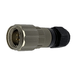 CEEP 920614V000PD0, 14V, 4 pin male inline connector, with locking ring, solder contacts 4 x 10A, IP67, nickel conductive finish.