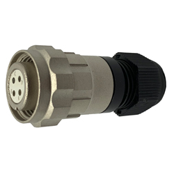 CEEP 920614V000SD00, 14V, 4 pin female inline connector, with locking ring, solder contacts 4 x 10A, IP67, nickel conductive finish.