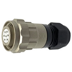 CEEP 920617P000SD00, 17P, 7 pin female inline connector, with locking ring, solder contacts 7 x 7.5A, IP67, nickel conductive finish.