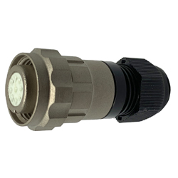 CEEP 9206114CD0SD00, 114CD, 14 pin female inline connector, with locking ring, 14 x 7.5A crimp contacts, IP67, nickel conductive finish.