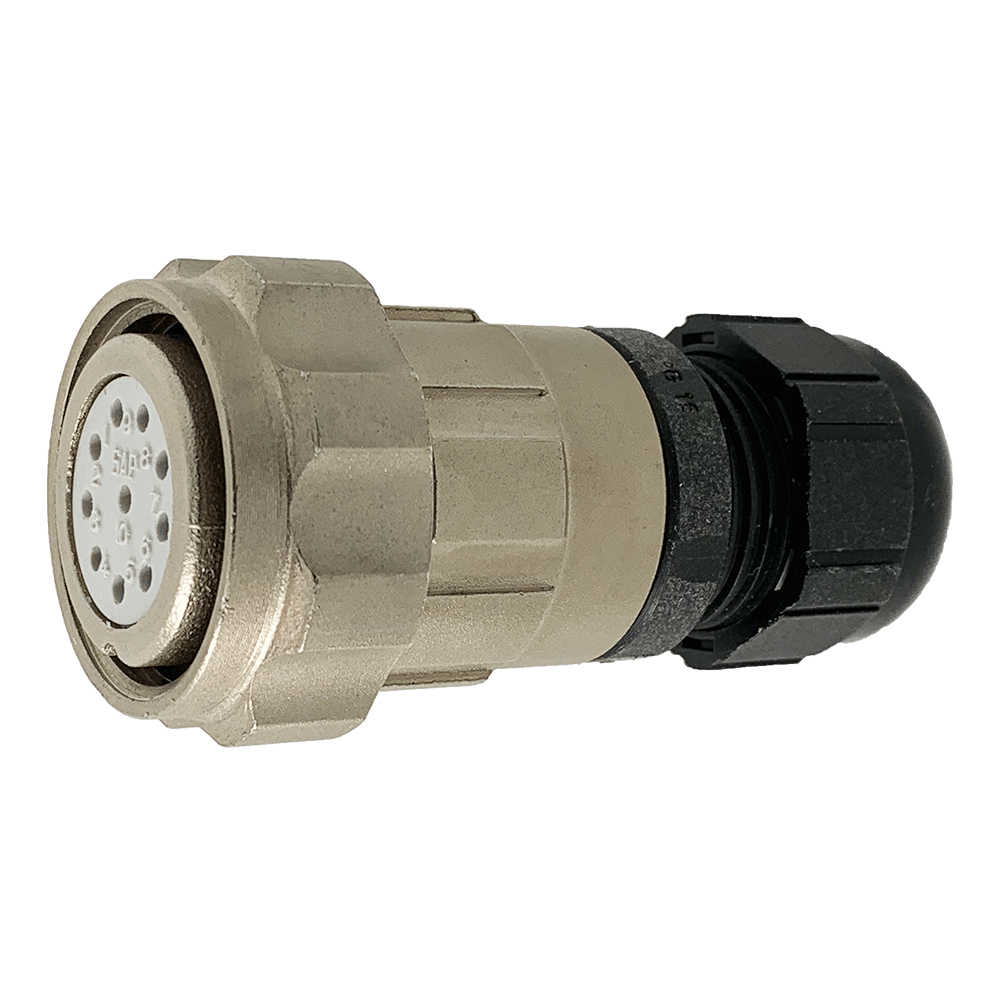 CEEP 9206210AO0SA00, 210AO, 10 pin female inline connector, with locking ring, solder contacts 10 x 10A, IP67, nickel conductive finish.
