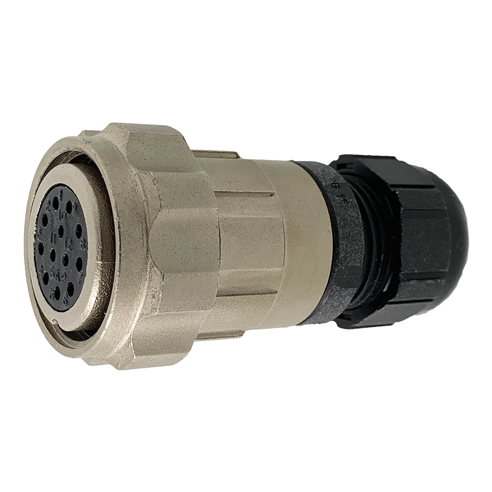 CEEP 9206212AF0SA0, 212AF, 12 pin female inline connector, with locking ring, 12 x 10A Solder Contacts, IP67, nickel conductive finish.