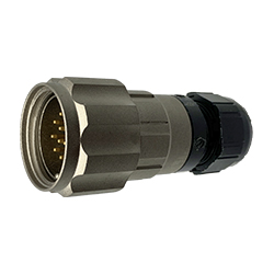 CEEP 9206213AN0PA00, 213AN, 13 pin male inline connector, with locking ring, 13 x 10A Solder Contacts, IP67, nickel conductive finish.