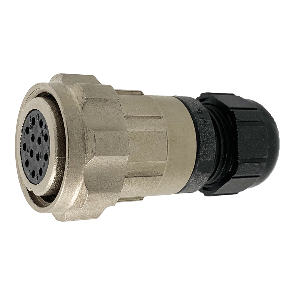 CEEP 9206213AN0SA00, 213AN, 13 pin female inline connector, with locking ring, 13 x 10A Solder Contacts, IP67, nickel conductive finish.