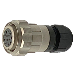 CEEP 9206213AN0SB00, 213AN, 13 pin female inline connector, with locking ring, 13 x 10A Solder Contacts, IP67, nickel conductive finish.