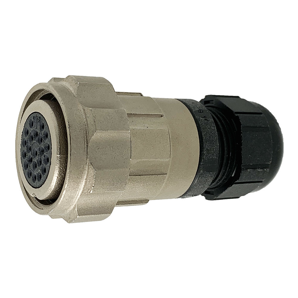 CEEP 9206222P00SA00, 222P, 22 pin female inline connector, with locking ring, 22 x 7.5A Solder Contacts, IP67, nickel conductive finish.