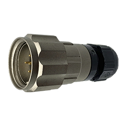 CEEP 920625S000PA00, 25S, 5 pin male inline connector, with locking ring, solder contacts 5 x 10A, IP67, nickel conductive finish.