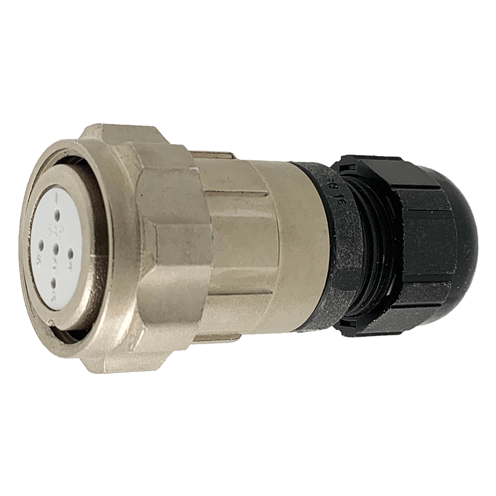 CEEP 920625S000SA00, 25S, 5 pin female inline connector, with locking ring, solder contacts 5 x 10A, IP67, nickel conductive finish.