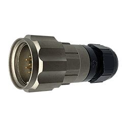 CEEP 920627E000PA00, 27E, 7 pin male inline connector, with locking ring, solder contacts 7 x 10A, IP67, nickel conductive finish.
