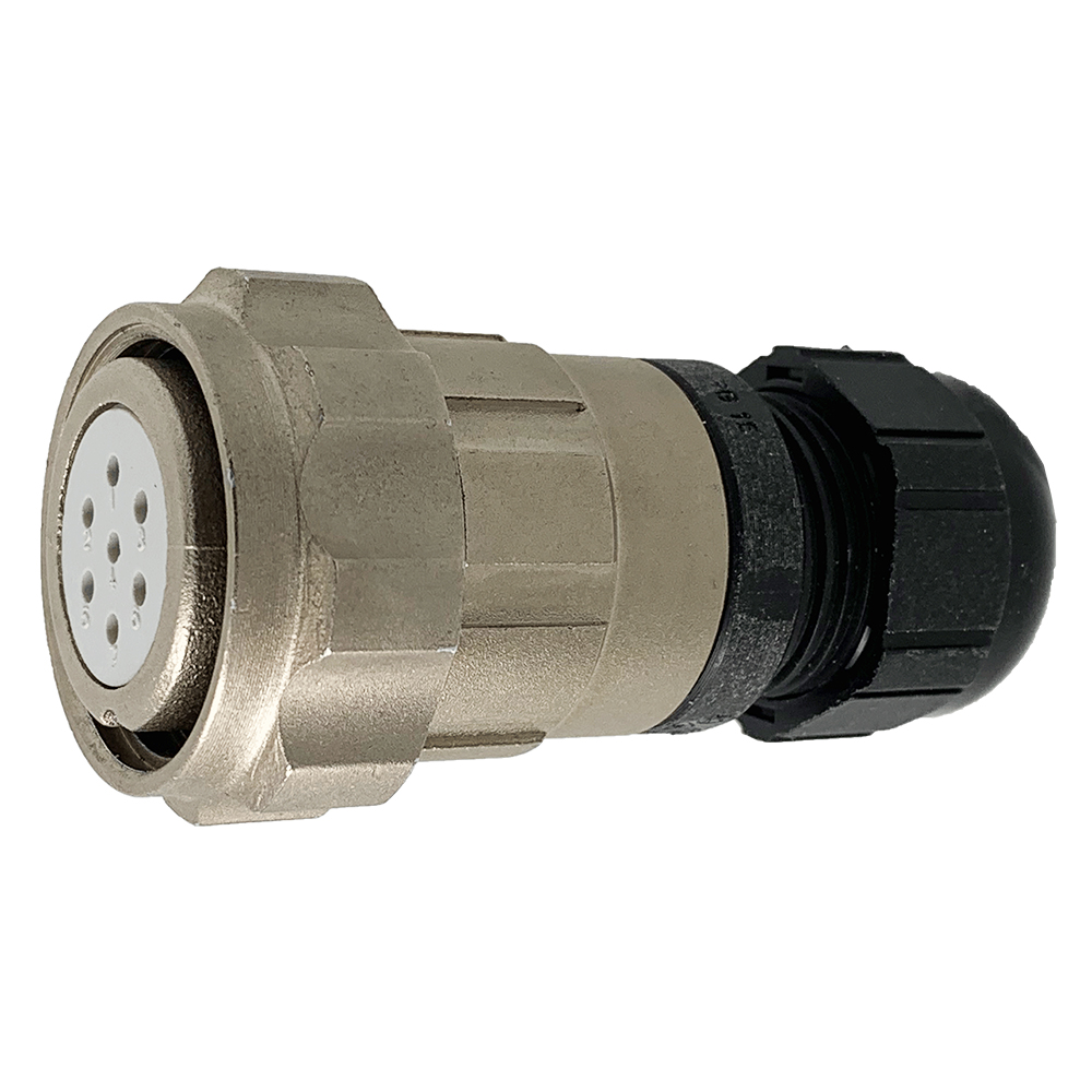CEEP 920627E000SA00, 27E, 7 pin female inline connector, with locking ring, solder contacts 7 x 10A, IP67, nickel conductive finish.