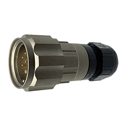 CEEP 920627X000PA00, 27X, 7 pin male inline connector, with locking ring, solder contacts 5 x 10A and 2 x 25A, IP67, nickel conductive finish.