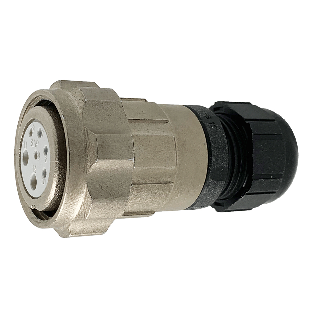 CEEP 920627X000SA0, 27X, 7 pin female inline connector, with locking ring, solder contacts 5 x 10A and 2 x 25A, IP67, nickel conductive finish.