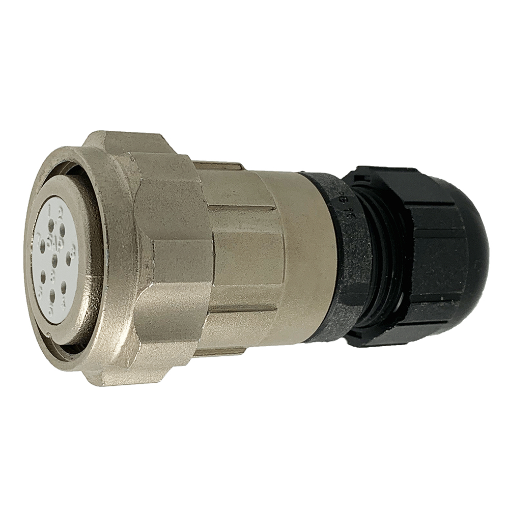 CEEP 920628T000SA00, 28T, 8 pin female inline connector, with locking ring, crimp contacts 8 x 10A, IP67, nickel conductive finish.