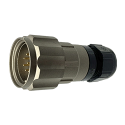 CEEP 920629AE00PB0, 29AE, 9 pin male inline connector, with locking ring, solder contacts 9 x 10A, IP67, nickel conductive finish.