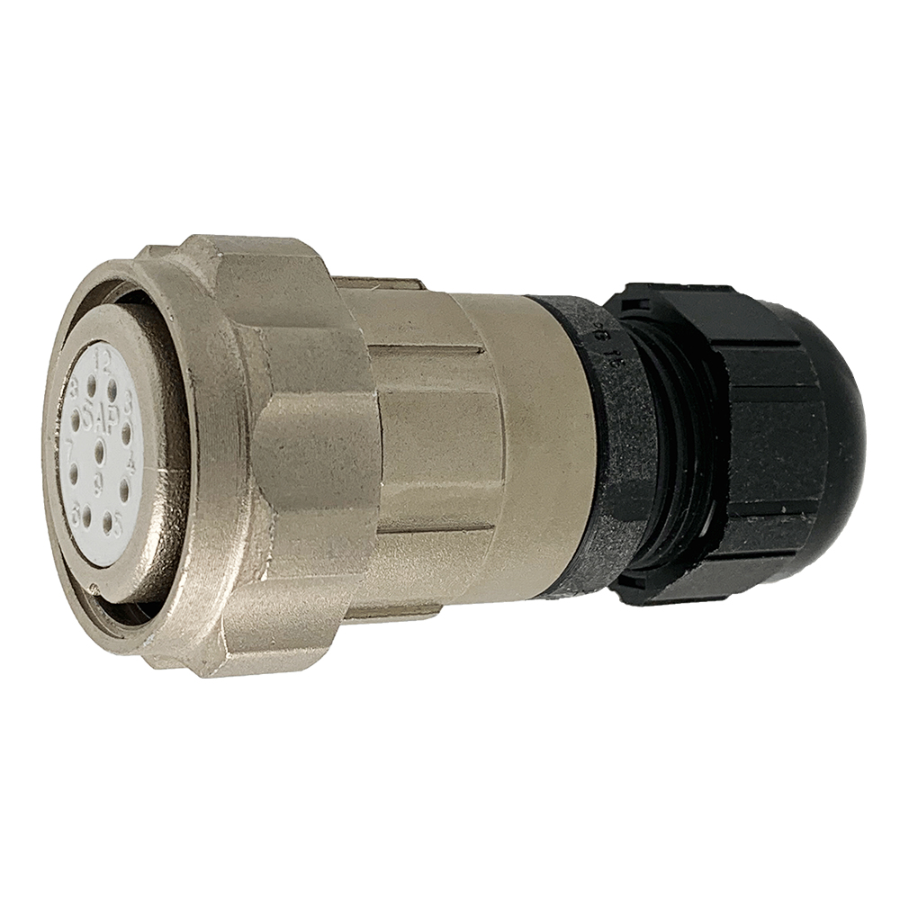 CEEP 920629AE00SA00, 29AE, 9 pin female inline connector, with locking ring, solder contacts 9 x 10A, IP67, nickel conductive finish.