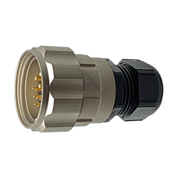 CEEP 9206315K00PG00, 315K, 15 pin male inline connector, with locking ring, 4 x 25A & 11 x 10A Solder Contacts, IP67, nickel conductive finish.
