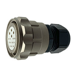 CEEP 9206315K00SG00, 315K, 15 pin female inline connector, with locking ring, 4 x 25A & 11 x 10A Solder Contacts, IP67, nickel conductive finish.