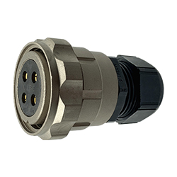 CEEP 920634H000SF00, 34H, 4 pin female inline connector, with locking ring, solder contacts 4 x 50A, IP67, nickel conductive finish.