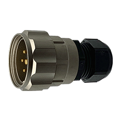 CEEP 920637Y000PF00, 37Y, 7 pin male inline connector, with locking ring, solder contacts 6 x 25A, 1 x 50A, IP67, nickel conductive finish.