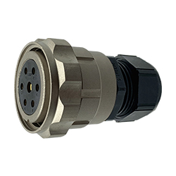 CEEP 920637Y000SF0, 37Y, 7 pin female inline connector, with locking ring, solder contacts 6 x 25A, 1 x 50A, IP67, nickel conductive finish.