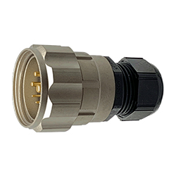 CEEP 920639J000PF00, 39J, 9 pin male inline connector, with locking ring, solder contacts 4 x 10A, 4 x 25A, & 1 x 10A, IP67, nickel conductive finish.