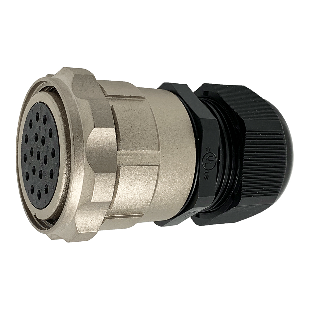 CEEP 9206419AR0SJ00, 419AR, 19 pin female inline connector, with locking ring, 19 x 25A Solder Contacts, IP67, nickel conductive finish.