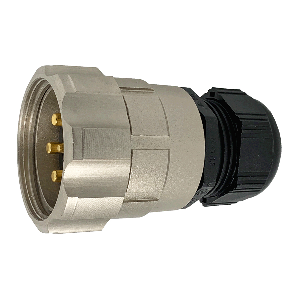 CEEP 920647M000PE00, 47M, 7 pin male inline connector, with locking ring, solder contacts 1 x 25A, 6 x 50A, IP67, nickel conductive finish.