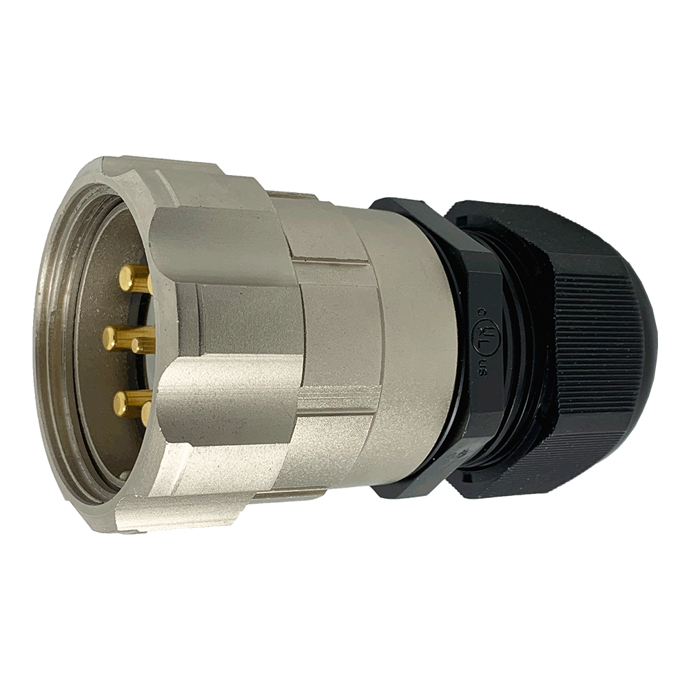 CEEP 920647M000PL00, 47M, 7 pin male inline connector, with locking ring, solder contacts 1 x 25A, 6 x 50A, IP67, nickel conductive finish.