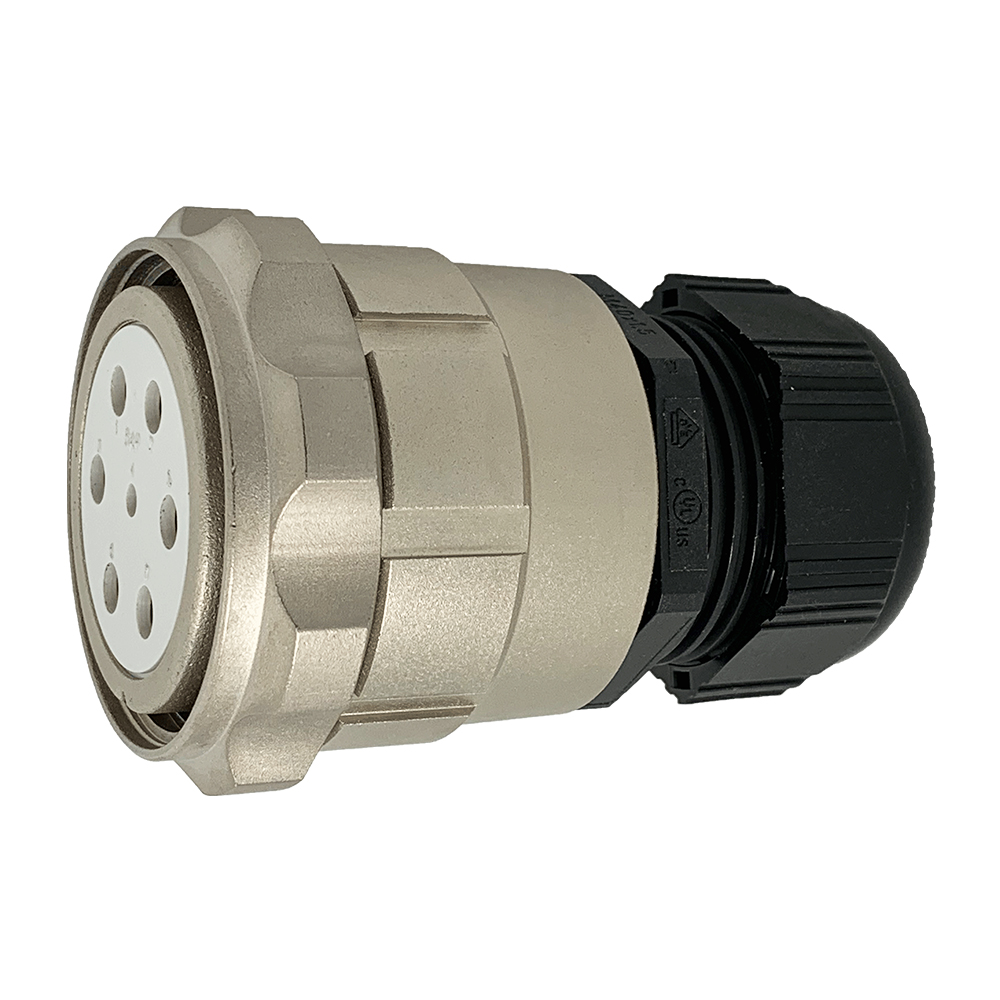 CEEP 920647M000SE00, 47M, 7 pin female inline connector, with locking ring, solder contacts 1 x 25A, 6 x 50A, IP67, nickel conductive finish.