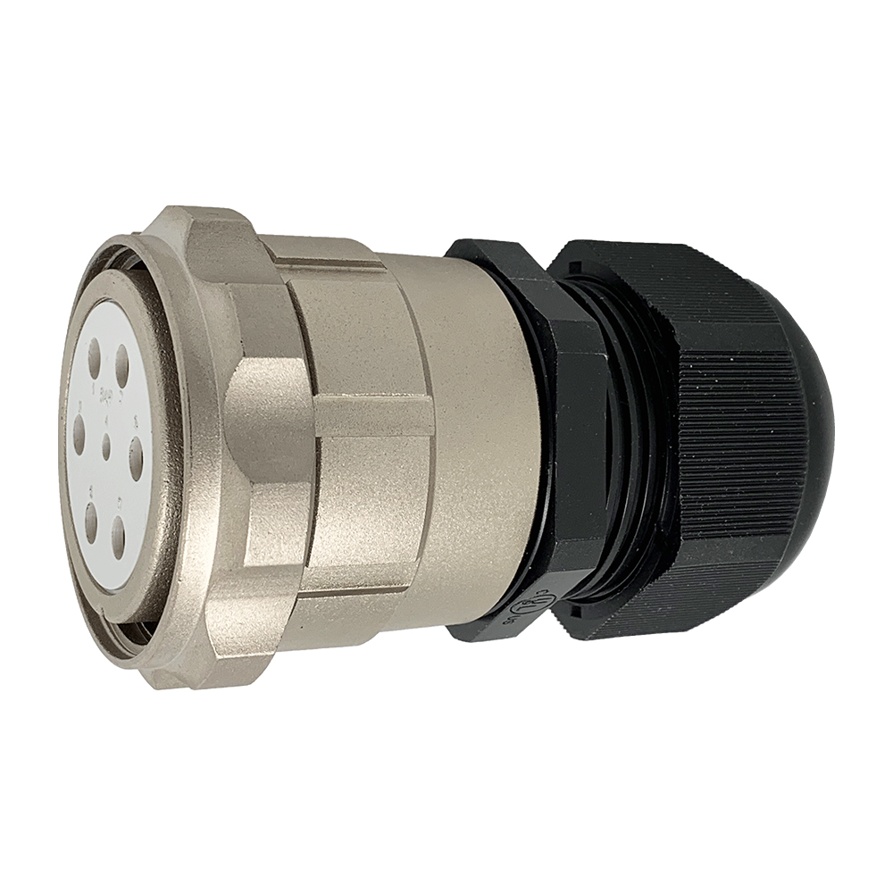 CEEP 920647M000SL00, 47M, 7 pin female inline connector, with locking ring, solder contacts 1 x 25A, 6 x 50A, IP67, nickel conductive finish.
