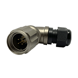 CEEP 920814V000PD0, 14V, 4 pin male right-angle connector, with locking ring, solder contacts 4 x 10A, IP67, nickel conductive finish.