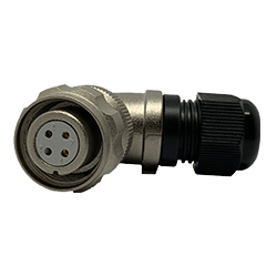 CEEP 920814V000SD0, 14V, 4 pin female right-angle connector, with locking ring, solder contacts 4 x 10A, IP67, nickel conductive finish.