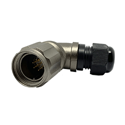 CEEP 920817P000PD0, 17P, 7 pin male right angle connector, with locking ring, solder contacts 7 x 7.5A, IP67, nickel conductive finish.