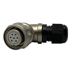 CEEP 920817P000SD00, 17P, 7 pin female right angle connector, with locking ring, solder contacts 7 x 7.5A, IP67, nickel conductive finish.