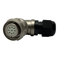 CEEP 920819CD00SD00, 19CD, 9 pin female right angle connector, with locking ring, crimp contacts 9 x 7.5A, IP67, nickel conductive finish.