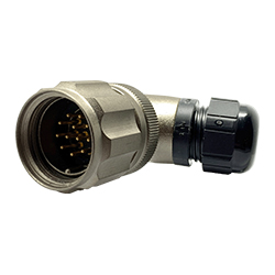 CEEP 9208212AF0PA00, 212AF, 12 pin male right angle connector, with locking ring, 12 x 10A Solder Contacts, IP67, nickel conductive finish.