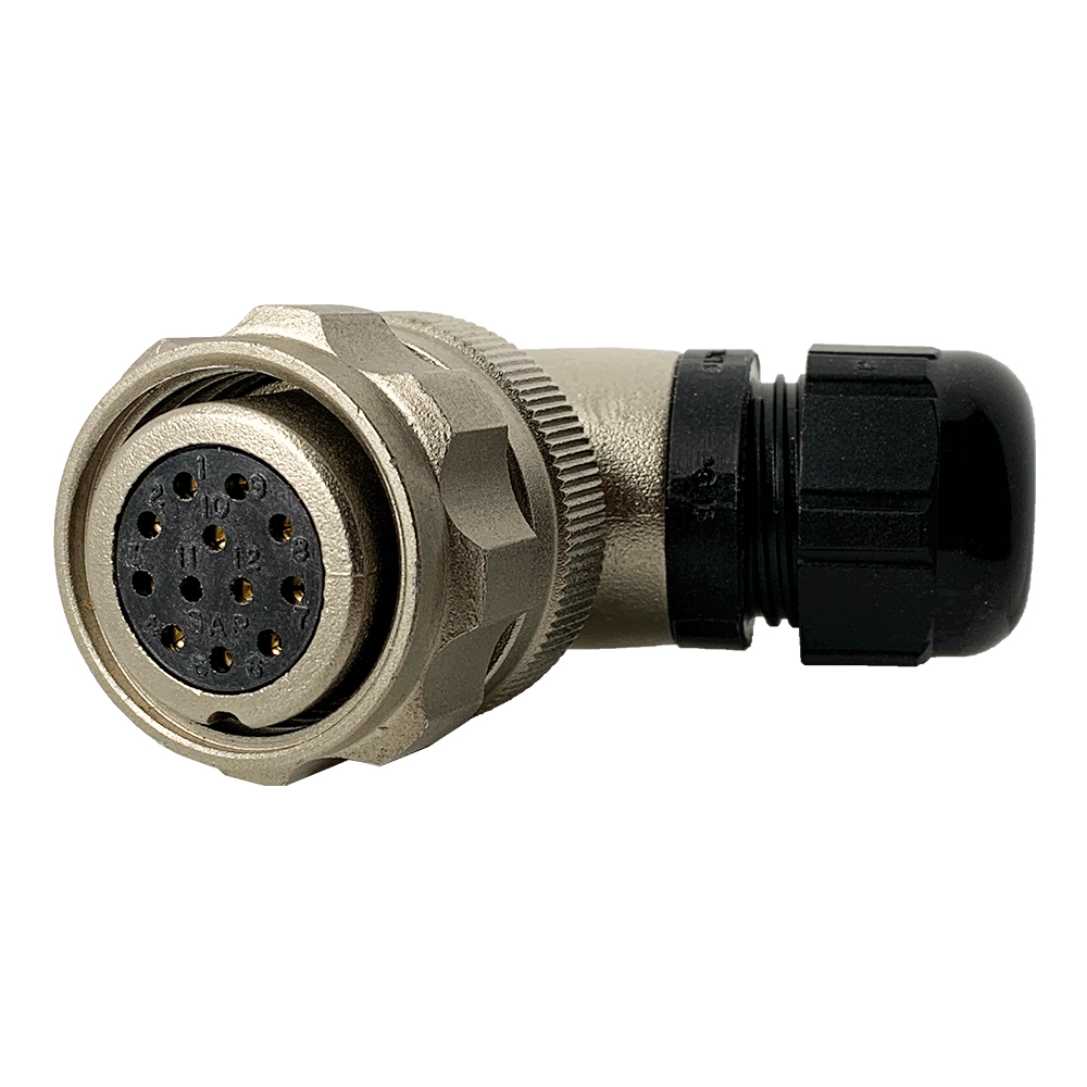 CEEP 9208212AF0SB0, 212AF, 12 pin female right angle connector, with locking ring, 12 x 10A Solder Contacts, IP67, nickel conductive finish.