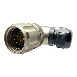 CEEP 9208213AN0PA00, 213AN, 13 pin male right angle connector, with locking ring, 13 x 10A Solder Contacts, IP67, nickel conductive finish.
