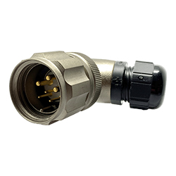 CEEP 920826R000PA00, 26R, 6 pin male right angled connector, with locking ring.