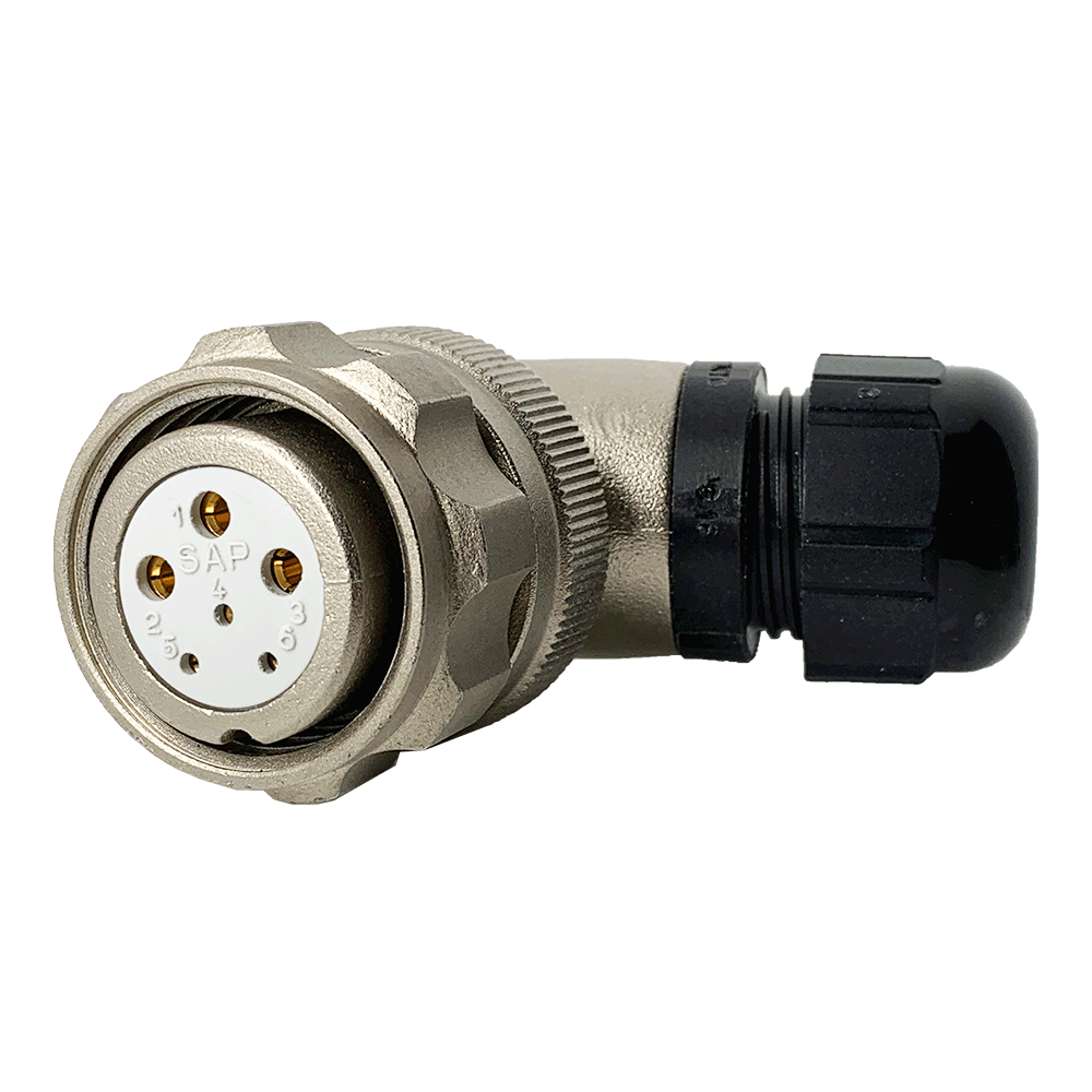 CEEP 920826R000SA00, 26R, 6 pin female right angled connector, with locking ring.