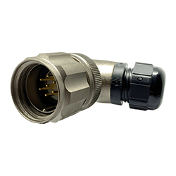 CEEP 920827E000PA00, 27E, 7 pin male right angle connector, with locking ring, solder contacts 7 x 10A, IP67, nickel conductive finish.